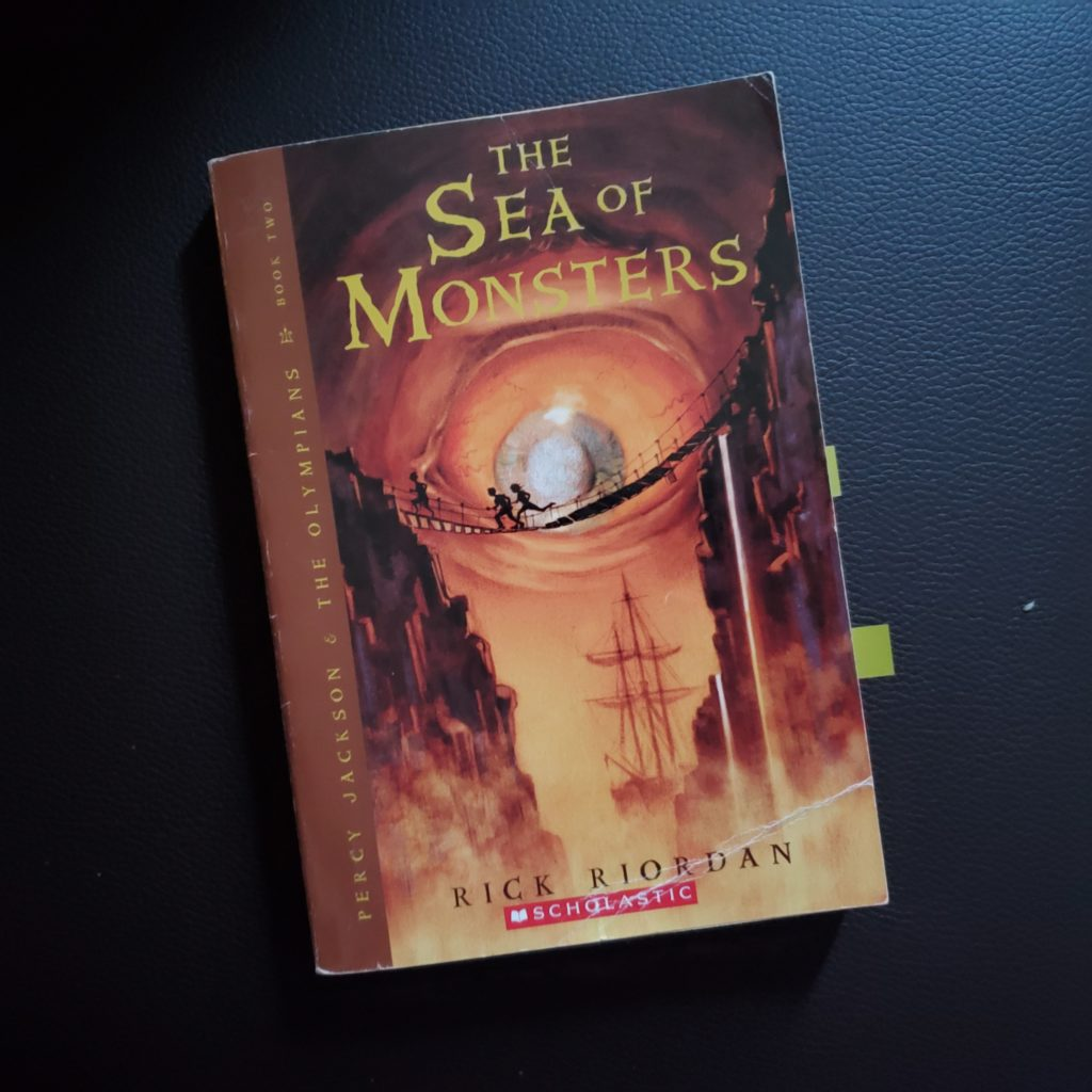 A photograph of Talia's well-worn copy of 'The Sea of Monsters'