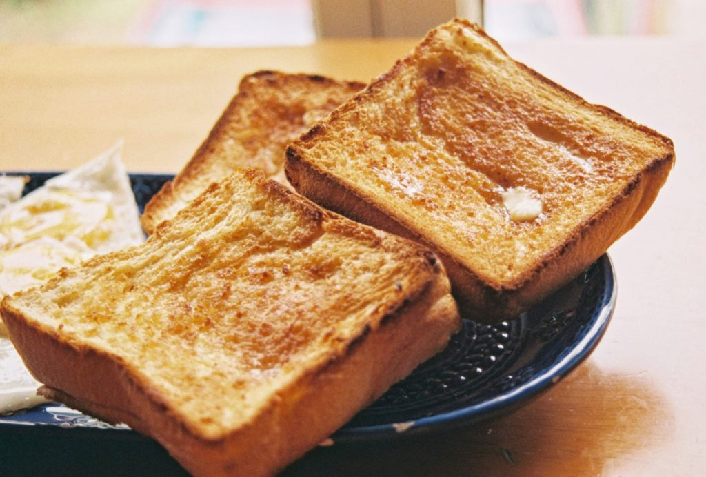 Toasted bread on a plate