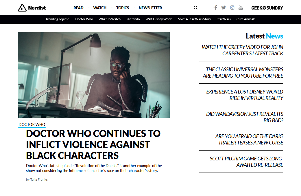 Doctor Who Continues to Inflict Violence Against Black Characters Front Page
