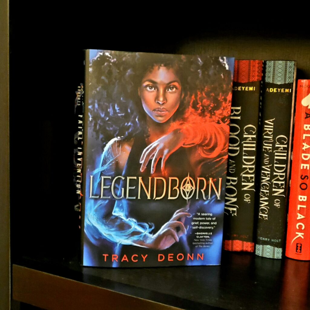 Copy of Legendborn on bookshelf